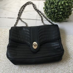 Express Black & Silver Faux Leather Adjustable Bag